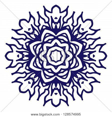 Three religions in one mandala: islam, buddhism, christianity. Symbol of peace and love in the world. Black and white circular pattern on isolated background.