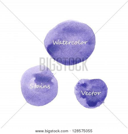 Violet watercolor stains set, abstract isolated vector blots.