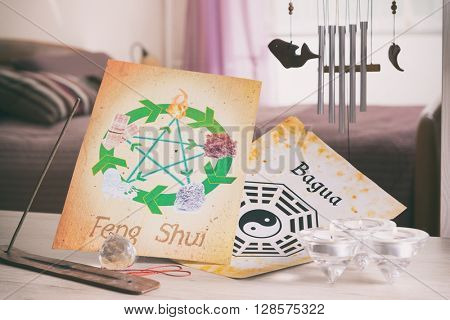 Conceptual image of Feng Shui with five elements