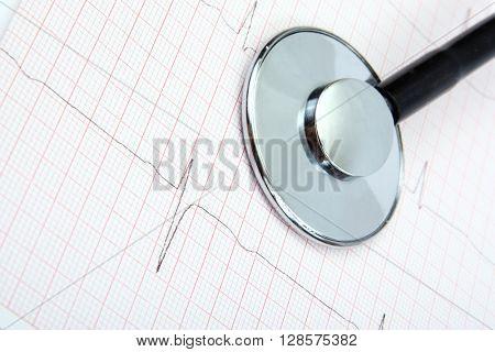 Medical stethoscope, ekg, electrocardiogram on white background.