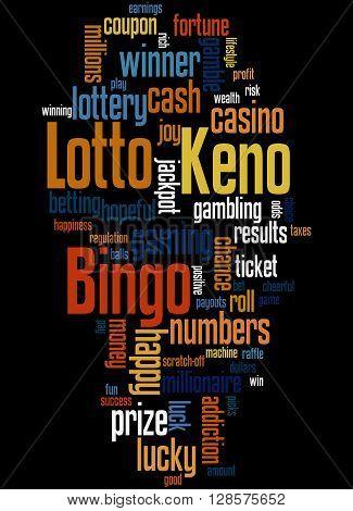 Lotto Bingo Keno, Word Cloud Concept