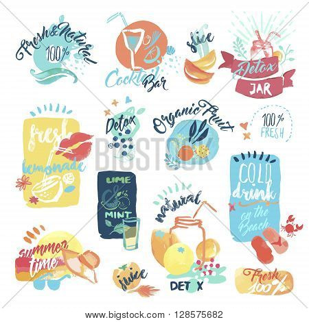 Set of hand drawn watercolor labels and stickers of fresh fruit juice and drinks. Vector illustrations for menu, food and drink, restaurant and bar, summer refreshment, cocktail bar, organic fruit, summer holiday.