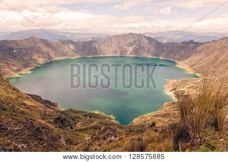 View Of The Quilotoa Lake Which Is One Of The The Volcanic Crater From Andean Mountains