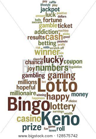 Lotto Bingo Keno, Word Cloud Concept 7