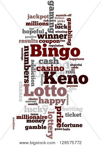 Lotto Bingo Keno, Word Cloud Concept 8