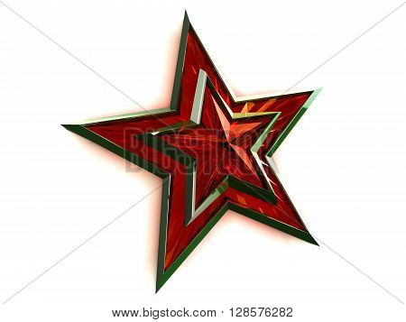Red star tied with Saint George ribbon on white background. Russian text which is depicted in the picture translated into English Congratulations an Victory Day. 3D rendering.