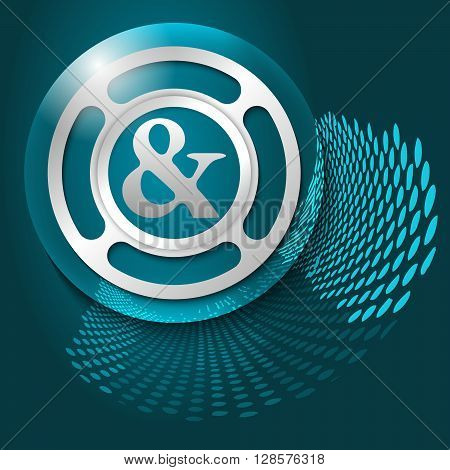 Vector abstract background and silver object with ampersand