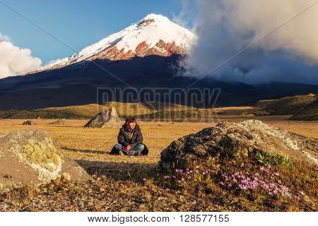 Young Volcanologist At The Foot Of Cotopaxi Volcano, South America