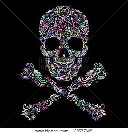 Floral colors pattern of form skull with crossbones on the black