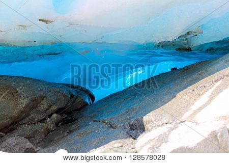 Close-up view at cave in Nigardsbreen Glacier in Jostedalsbreen National Park Norway