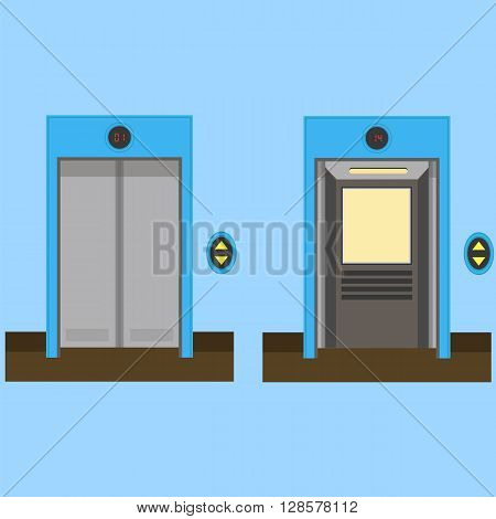 Metal Office Building Elevator on Blue Background. Closed and Open Doors.