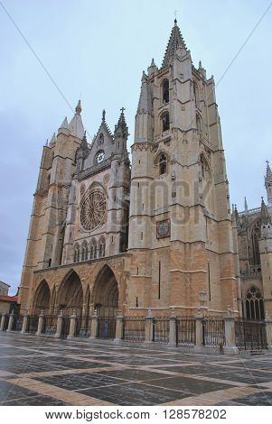 Leon Gothic Cathedral Facade