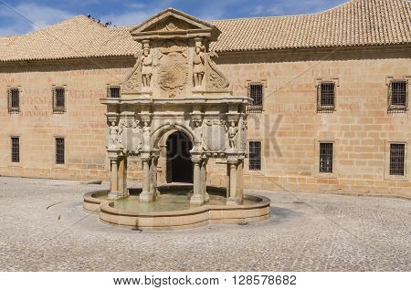 Fountain And University In Baeza