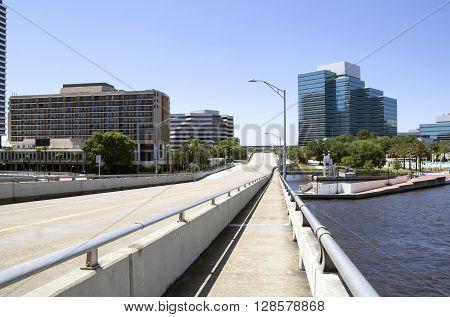 Empty city street and bridge downtown Jacksonville Florida
