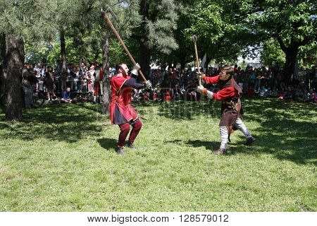BELGRADE, SERBIA - APRIL 23 Demonstration of medieval fighting at Belgrade Knight Fest held on 23 April in Belgrade Serbia