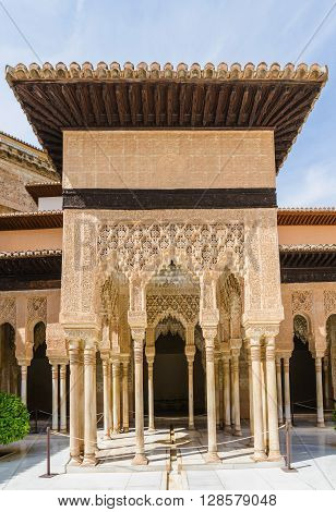 Arabesque decoration and columns in patio de los leones Alhambra de granada Granada Spain
