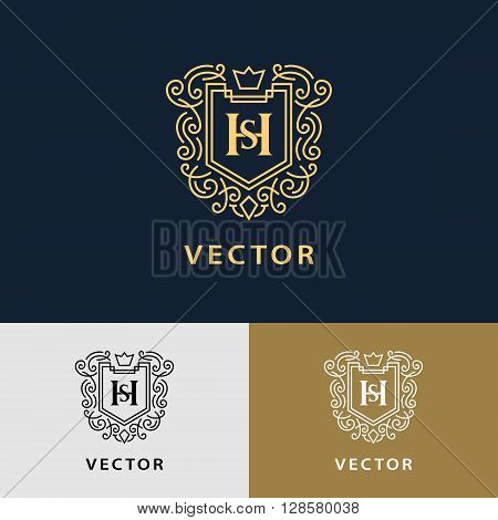 Vector illustration of Line graphics monogram. Elegant art logo design. Letter SH. Graceful template. Business sign identity for Restaurant Royalty Boutique Cafe Hotel Heraldic Jewelry Fashion