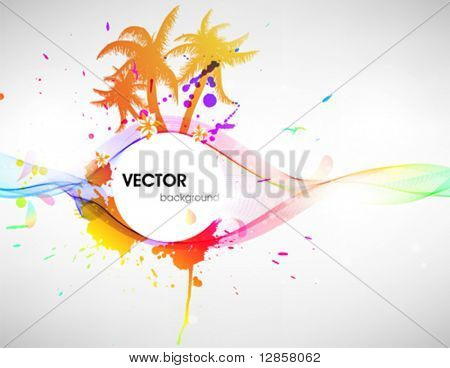 Tropical background. Aloha Hawaii. Vector palms, birds, sun, splashes.