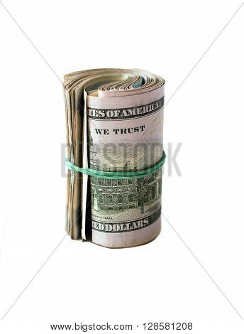 roll of 100 dollars banknotes with rubber band