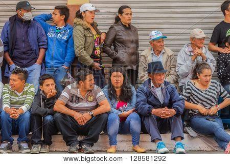 Banos De Agua Santa - 29 November, 2014 : Group Of Ecuadorian People Waiting To Begin Annual Carnival On The Streets Of Banos De Agua Santa South America In Banos De Agua Santa On November 29, 2014