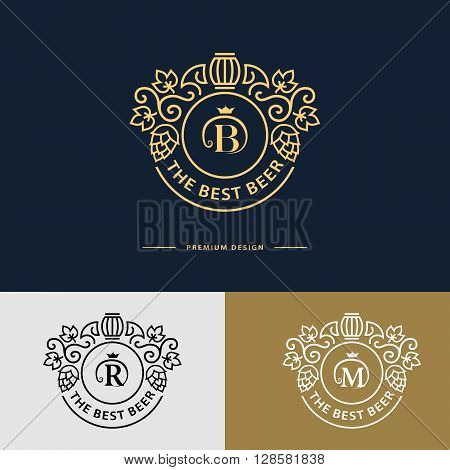 Vector illustration of Line graphics monogram. Logo design. Flourishes frame ornament template with barrel hops and leaves for labels emblems for beer house bar pub brewing company brewery tavern