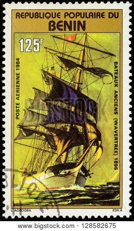 MOSCOW RUSSIA - MAY 03 2016: A stamp printed in Benin shows image of sail Merchantman