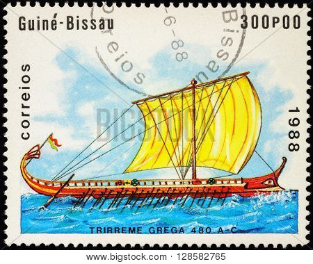 MOSCOW RUSSIA - MAY 01 2016: A stamp printed in Guinea-Bissau shows image of ancient Greek trireme series