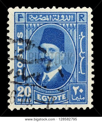 EGYPT - CIRCA 1934 : Cancelled postage stamp printed by Egypt, that shows king Fuad.