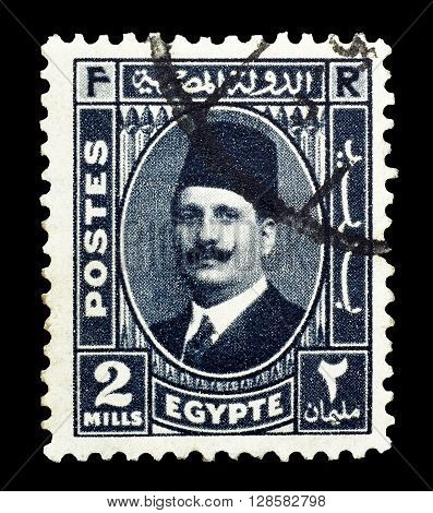 EGYPT - CIRCA 1936 : Cancelled postage stamp printed by Egypt, that shows king Fuad.