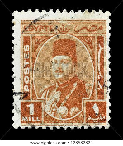 EGYPT - CIRCA 1945 : Cancelled postage stamp printed by Egypt, that shows king Farouk.