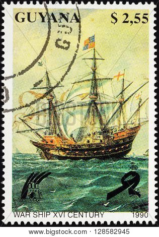 MOSCOW RUSSIA - APRIL 29 2016: A stamp printed in Guyana shows ancient sailing war ship (16th Century) series