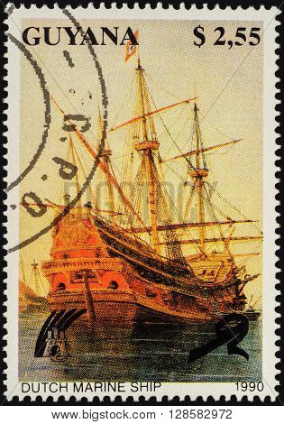 MOSCOW RUSSIA - APRIL 29 2016: A stamp printed in Guyana shows ancient Dutch sailing marine ship series