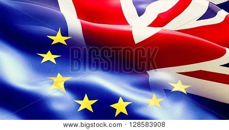 brexit separated half flag of european union and united kingdom uk england flag vote for exit concept