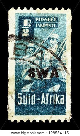 SOUTH WEST AFRICA - CIRCA 1941 : Cancelled postage stamp printed by South West Africa, that shows soldiers.