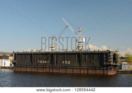 Russia.Tower cranes are working at the Admiralty shipyards in St. Petersburg.