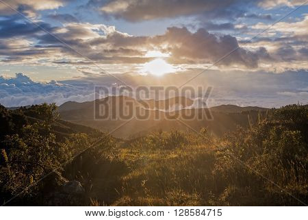 Colorful Sunset Over Andean Mountains South America Cordillera