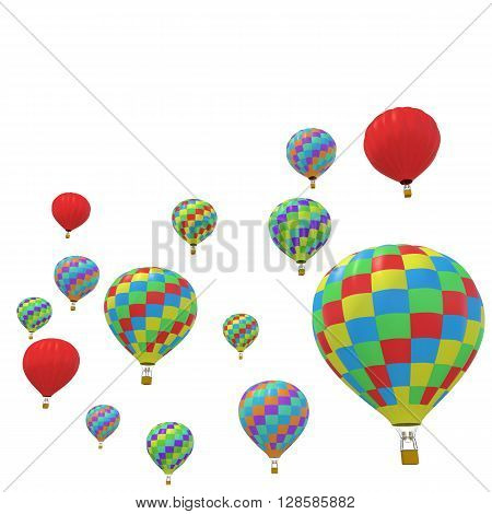 Group colorful balloon isolated on white background. 3d illustration