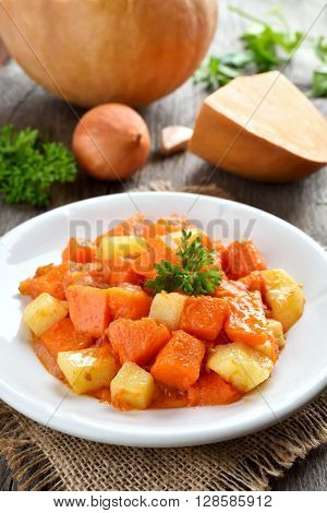 Stew dish with pumpkin and potatoes country style