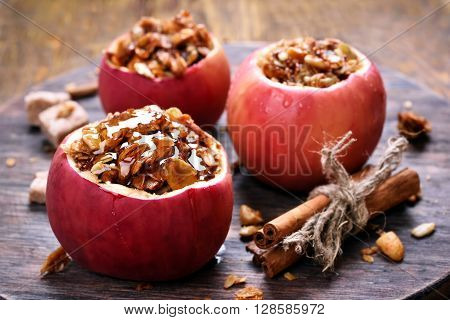 Fruit dessert baked red apples stuffed with granola