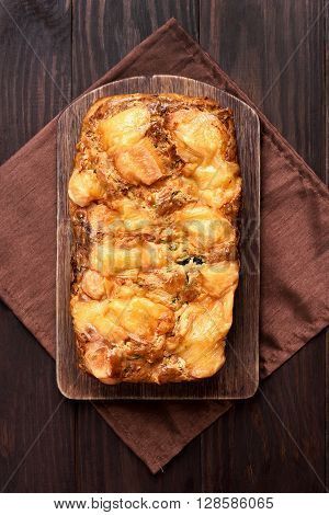 Zucchini bread loaf vegetarian food top view