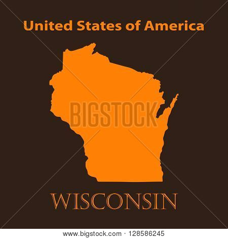 Orange Wisconsin map - vector illustration. Simple flat map of Wisconsin on a brown background.