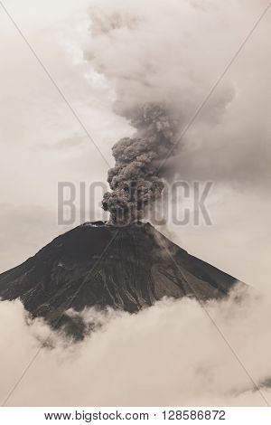 Tungurahua Volcano Fiery Eruption February 2016 South America