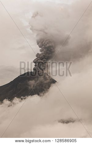 Tungurahua Volcano Surrounded In Clouds Full Of Ash And Smoke February 2016 Powerful Eruption South America