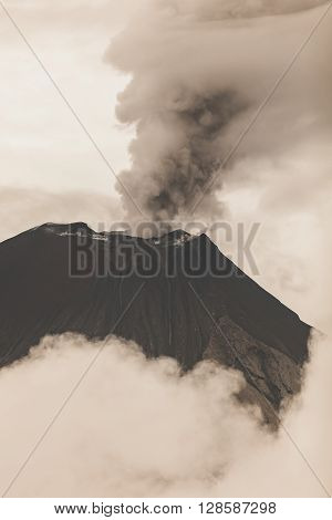 Tungurahua Volcano Crater February 2016 Powerful Eruption South America