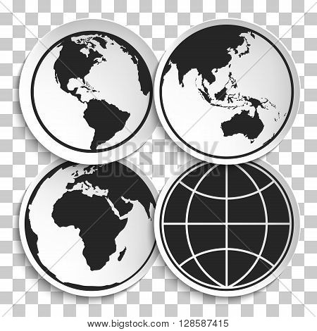 Earth Globe Icon on White Plate. Earth on Plate Vector Illustration. Black Earth icon Travel and Transportation Concept on transparency background.