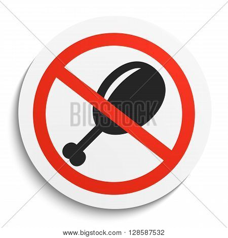 No Fast Food Prohibition Sign on White Round Plate. No Roasted Chicken forbidden symbol. No Hen Vector Illustration on white background