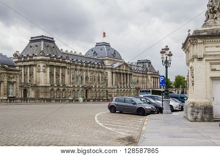 Brussels, Belgium - May 10: This is square Palais and the facade of residence of the King of Belgium - Royal Palace May, 10 2013 in Brussels, Belgium.