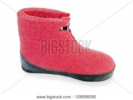 Felt boot bright red on a white background