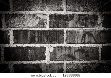 Background of black and white brick wall.