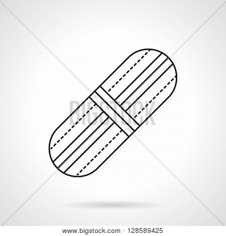 Drugstore items. Health care and treatment. Adhesive plaster. Objects for first aid. Flat line style vector icon. Single design element for website, business.
